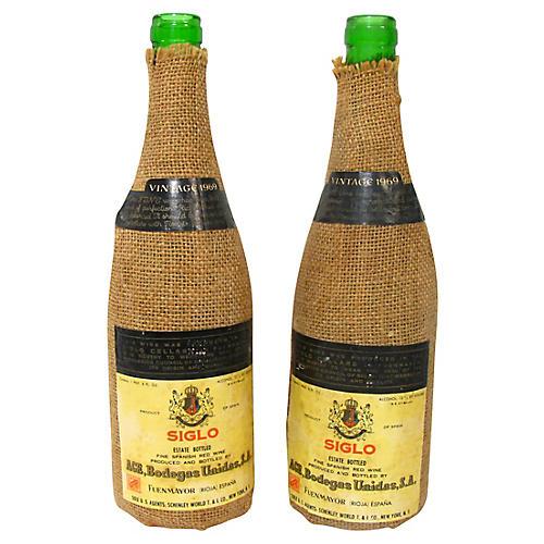 Spanish Wine Bottles, Pair