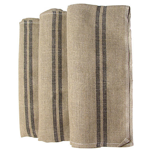 French Linen Torchons w/ Black StripeS/3