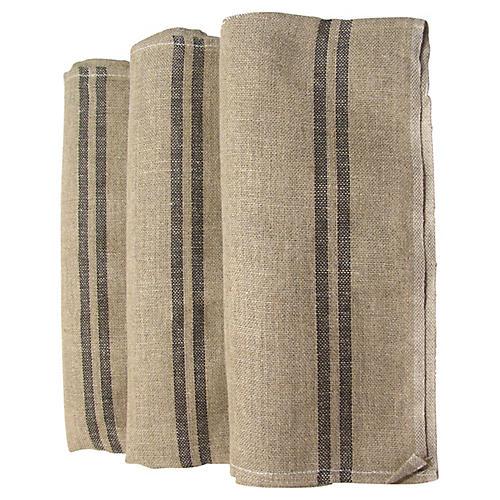 French Linen Torchons w/ Black StripeS/3