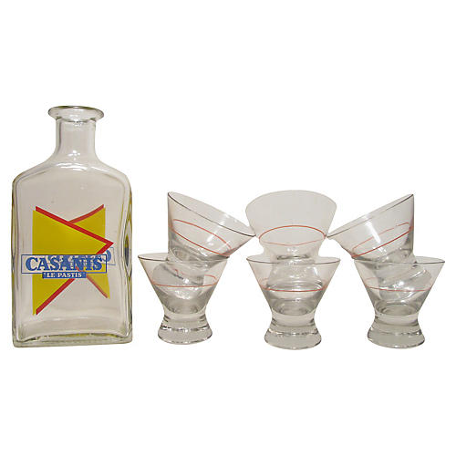 French Bistro Carafe & Six Glasses, S/7