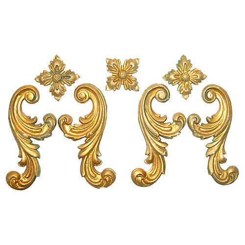 Italian Gilt Plaster Elements, S/7