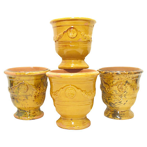 French Yellow Anduze Urns, S/4