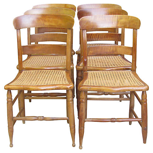 C.1840 Federal Maple & Cane Chairs, S/6