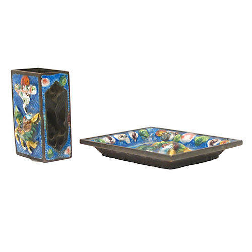 Chinese Enamel Smoking Set