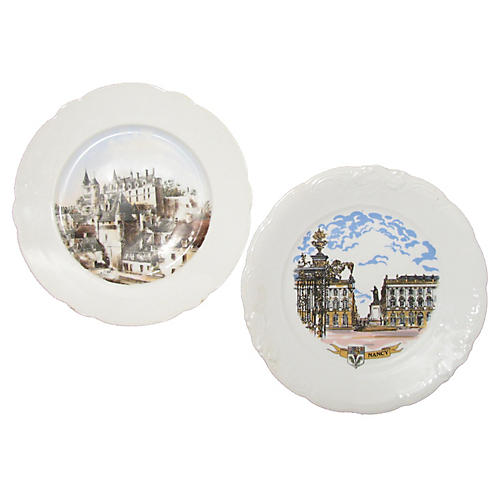 Antique French Chateaux Plates, Pair
