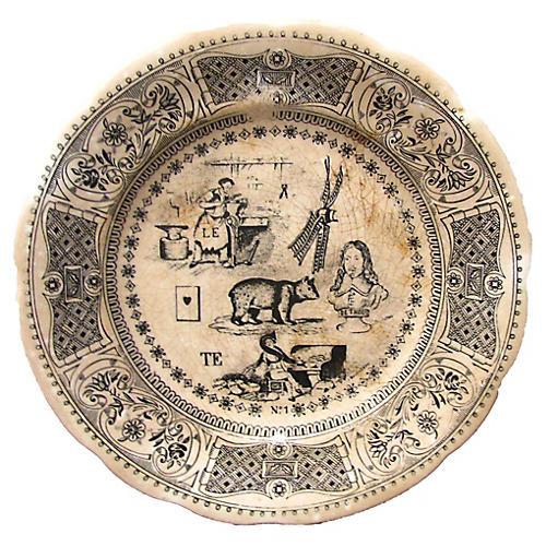 French Gien Black & White Rebus Plate