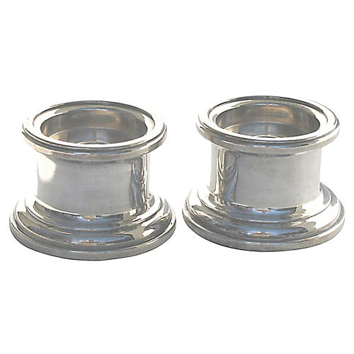 Silver-Plate Column Candleholders, Pair