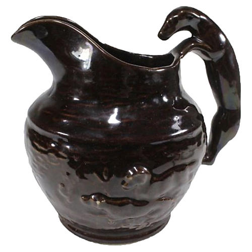 Rockingham-Style Pitcher w/ Hound Handle
