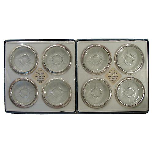 Italian Silver & Glass Coasters, S/8