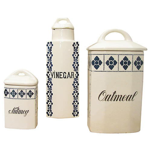Blue & White Canisters, S/3