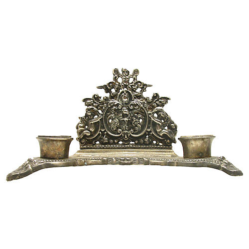English Silver-Plate Letter Holder