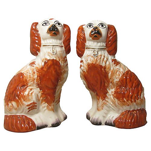 Antique Staffordshire Spaniel Dogs, Pair