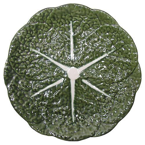 Portuguese Majolica Cabbage Leaf Platter