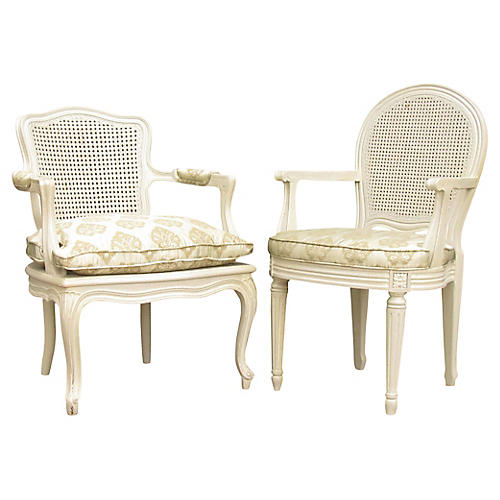 Painted Cane Armchairs, Pair