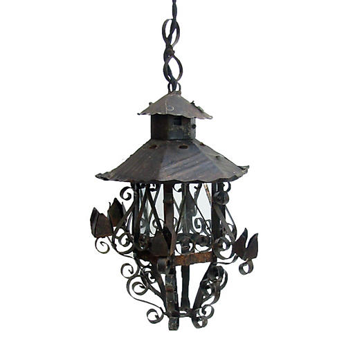 Petite French Iron Hanging Lantern