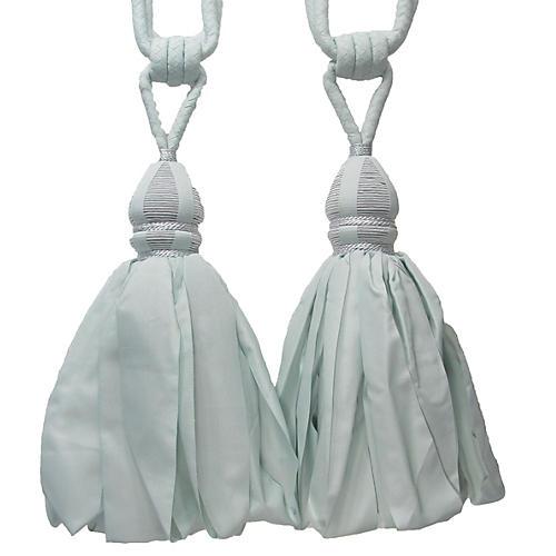 Blue Tiebacks w/ Ballgown Tassels, Pair