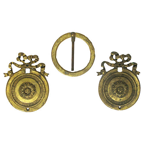 Antique French Bronze Doré Mounts, S/3