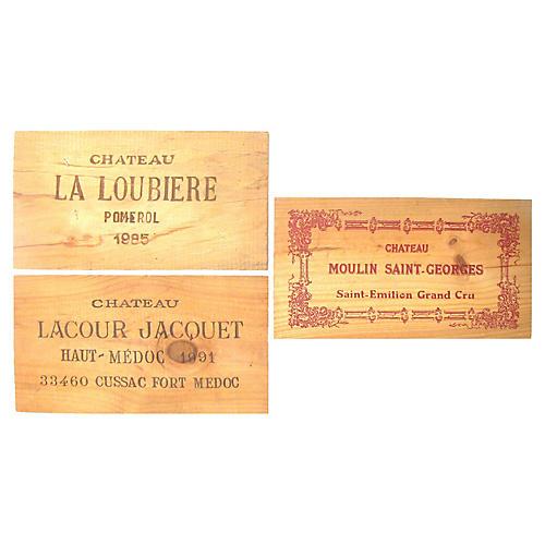 French Wine Box Panels, S/3