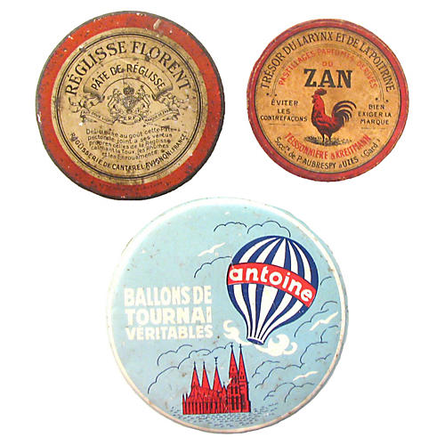 French & Belgian Candy Tins, S/3
