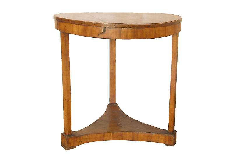 French Antique Leathertop Gueridon Table