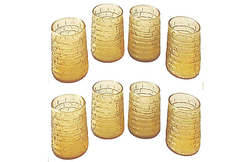Midcentury Modern Faux Bamboo GlassesS/8