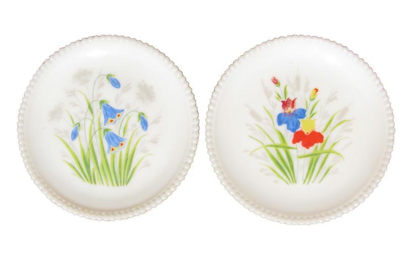 Handpainted Milk Glass Plates, Pair