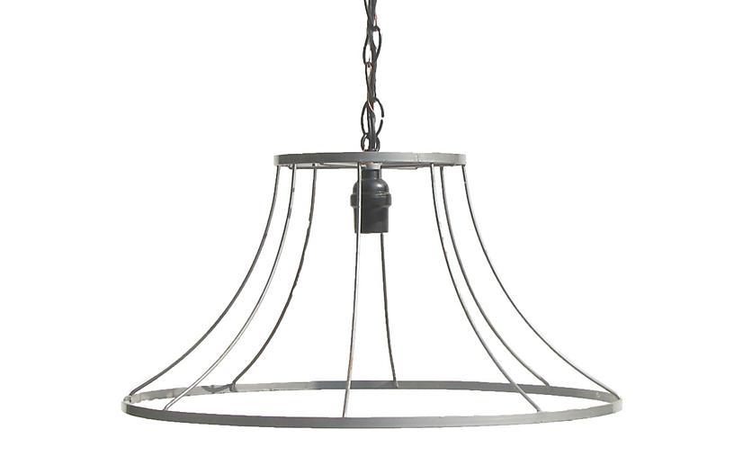 Large Lampshade Frame Pendant Light Pair