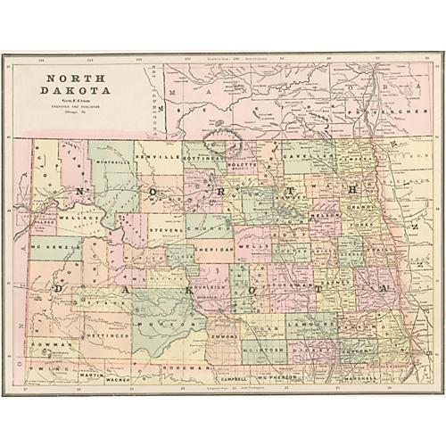 Map of North Dakota, 1889