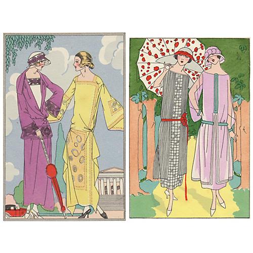 Deco Women w/ Parasols, Pair, C. 1922