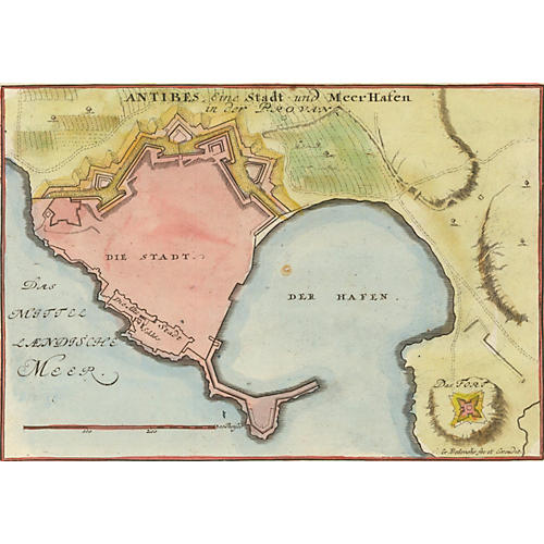 Map of Antibes, French Riviera, C. 1725