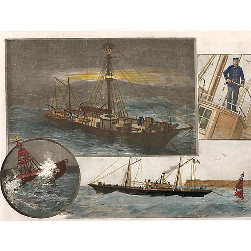 French Ship, Captain & Buoy, 1891