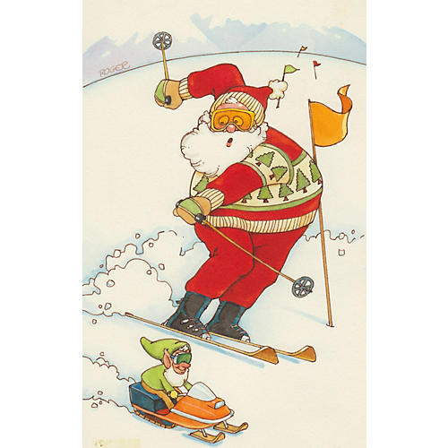 Santa Skiing Watercolor