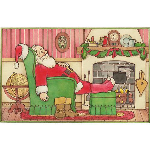 Watercolor of Santa Claus Taking a Nap