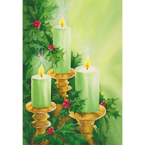 Candles & Holly Watercolor