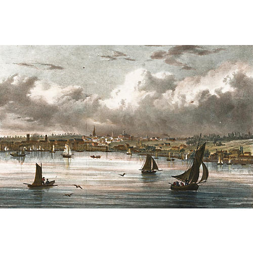 Hand-Colored View of Albany, 1815