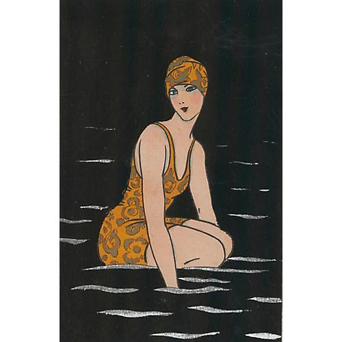 Art Deco Midnight Swimmer, C. 1925