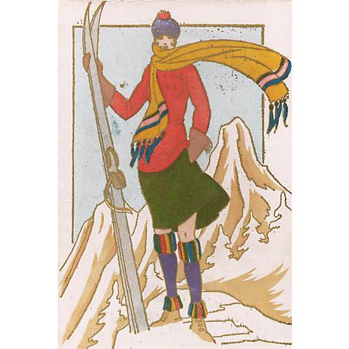 French Skier by Leon Bonnotte, C. 1930