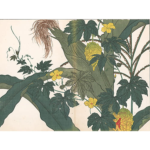 19th-C. Japanese Corn Woodcut