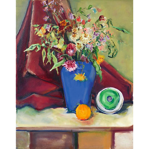 Spring Bouquet in a Blue Vase, 1980