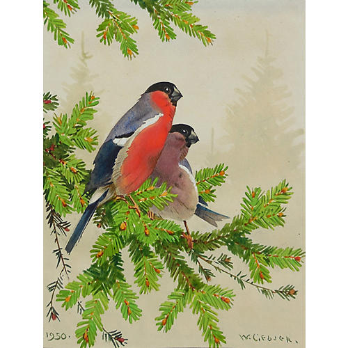 Finches in a Pine Bough, 1950