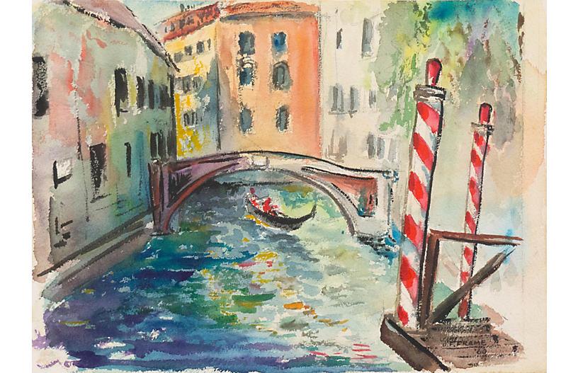 Venetian Canal Scene, 1960