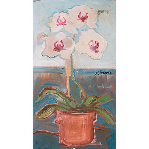 Modernist Orchid Still Life, C. 1965