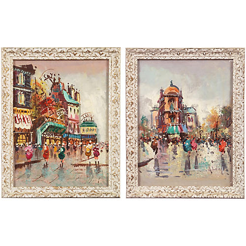 Two Impressionist Oils of Paris, 1950's