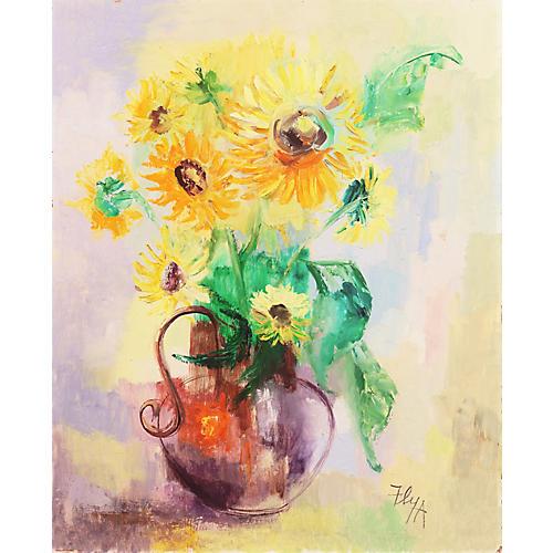 Still Life of Sunflowers, Helen Ann Fly