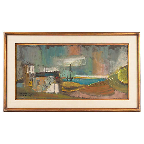Fishing Village by Nahum Arbel, 1964