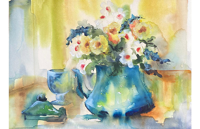 Spring Flowers in a Blue Jug, 1960s