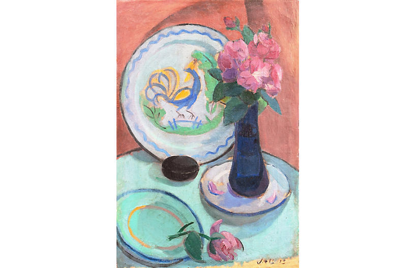 Pink Roses and a Quimper Plate, 1913