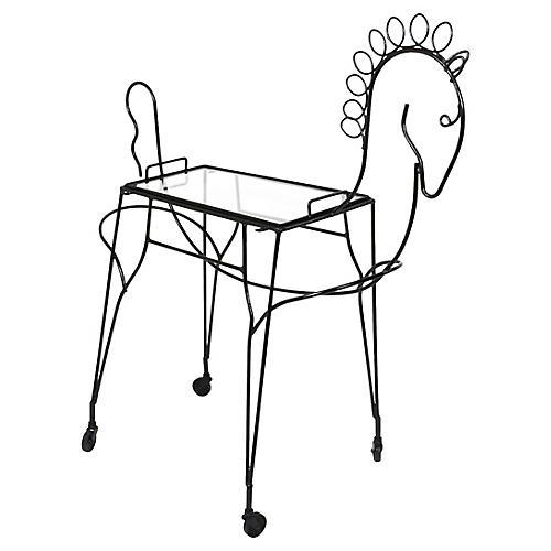 Black Iron Figural Horse Bar Cart