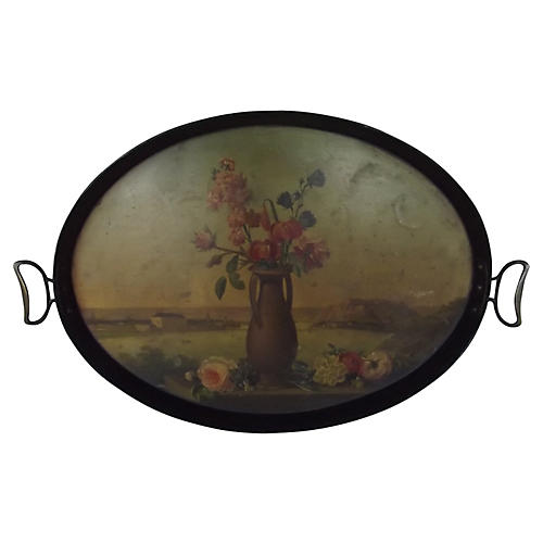 Napoleon III Decorated Tole Tray