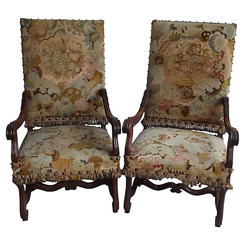 Louis XIV-Style Armchairs, S/2
